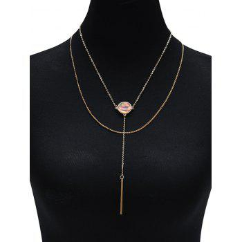 Bar Illusion Pattern Round Layered Necklace - Or