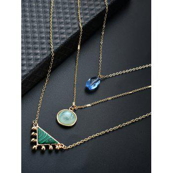 Illusion Pattern Triangle Three Layered Necklace -  GOLDEN