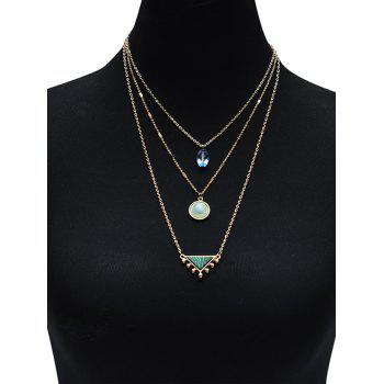 Illusion Pattern Triangle Three Layered Necklace - Or