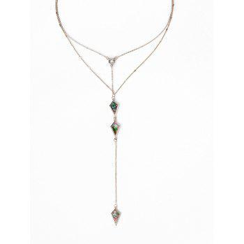 Illusion Pattern Rhombus Two Layered Necklace - GOLDEN GOLDEN