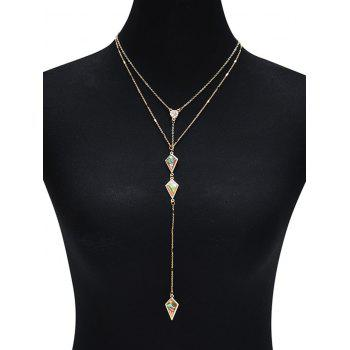 Illusion Pattern Rhombus Two Layered Necklace - GOLDEN