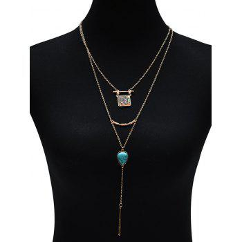 Illusion Pattern Waterdrop Bar Layered Necklace -  GOLDEN