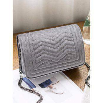 Quilted Stitching Zigzag Crossbody Bag - GRAY