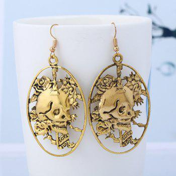 Skull Geometric Round Oval Hook Earrings - GOLDEN
