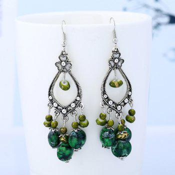 Bohemia Beaded Tassel Flower Design Dangle Earrings - GREEN GREEN