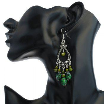 Bohemia Beaded Tassel Flower Design Dangle Earrings -  GREEN