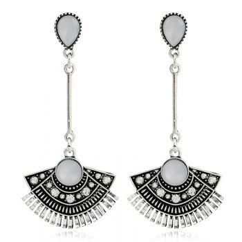 Rhinestone Waterdrop Sector Pendant Earrings - SILVER SILVER