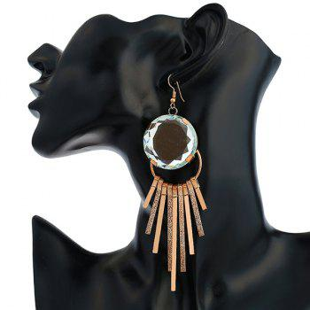 Faux Gem Circle Bar Hook Boucles d'oreilles - Or