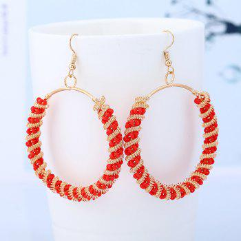 Bohemian Circle Beaded Hoop Drop Earrings - RED RED