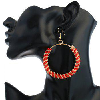 Bohemian Circle Beaded Hoop Drop Earrings -  RED
