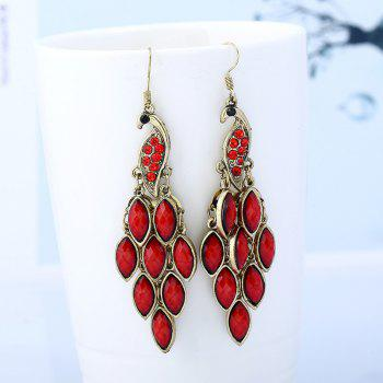 Peacock Fish Hook Earrings - RED