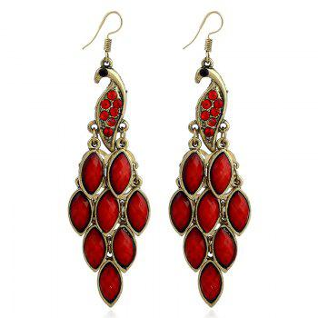 Peacock Fish Hook Earrings - RED RED