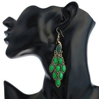 Peacock Fish Hook Earrings - GREEN