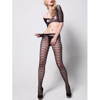 Fishnet Tights with Crop Top - BLACK ONE SIZE