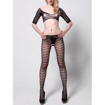 Fishnet Tights with Crop Top - BLACK BLACK