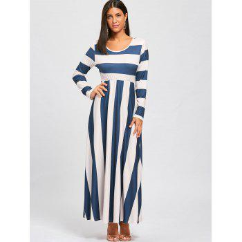 Striped Floor Length Long Sleeve Dress - BLUE/APRICOT BLUE/APRICOT