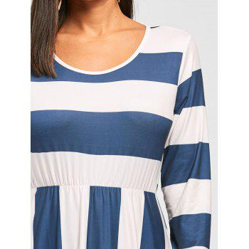 Striped Floor Length Long Sleeve Dress - BLUE/APRICOT L