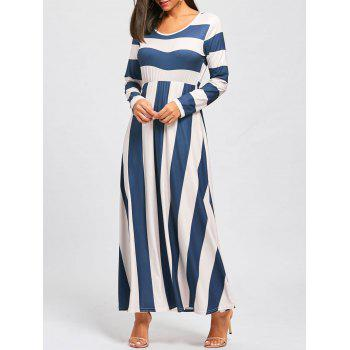 Striped Floor Length Long Sleeve Dress - BLUE AND APRICOT L