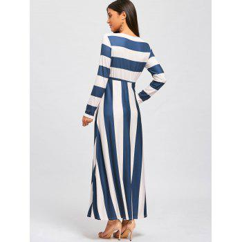 Striped Floor Length Long Sleeve Dress - L L