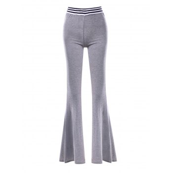 Striped Insert Maxi Flare Pants - GRAY GRAY
