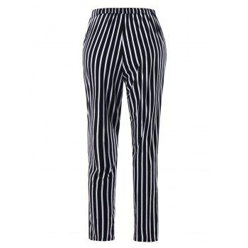 Casual Striped Tapered Pants - BLACK STRIPE BLACK STRIPE