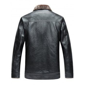 Zip Up Faux Leather Fleece Jacket, BLACK, L in Jackets & Coats ...