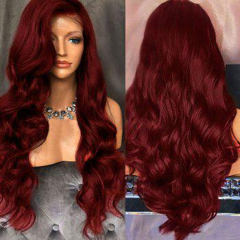 Free Part Long Fluffy Body Wave Lace Front Synthetic Wig - WINE RED WINE RED