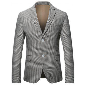 Flap Pocket Single Breasted Check Blazer - CHECKED 3XL