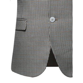 Flap Pocket Single Breasted Check Blazer - 3XL 3XL