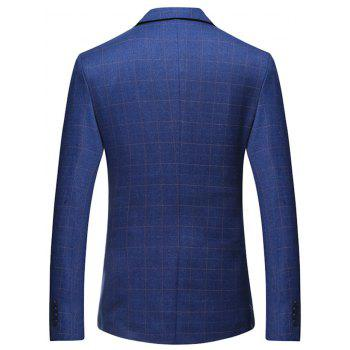 Flap Pocket Lapel Collar Check Blazer - Bleu XL