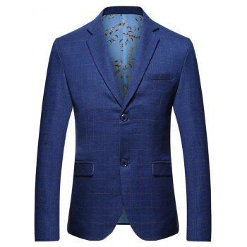 Flap Pocket Lapel Collar Check Blazer - BLUE M