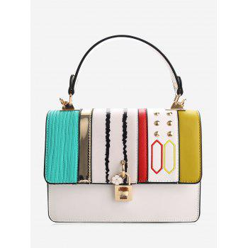 Rivets Color Block Metal Detailed Handbag - WHITE WHITE