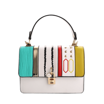 Rivets Color Block Metal Detailed Handbag -  WHITE