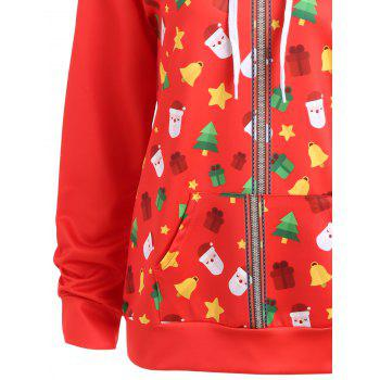 Christmas Bells Tree Santa Claus Zip Up Hoodie - RED RED
