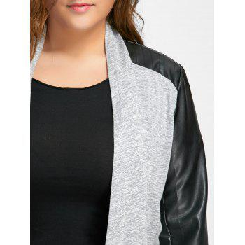 Faux Leather Raglan Sleeve Plus Size Coat - GRAY XL