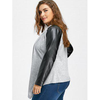 Faux Leather Raglan Sleeve Plus Size Coat - GRAY GRAY