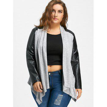 Faux Leather Raglan Sleeve Plus Size Coat - GRAY 5XL