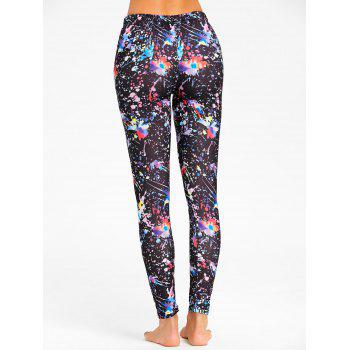 Elastic Waist Splashed Paint Leggings - BLACK XL