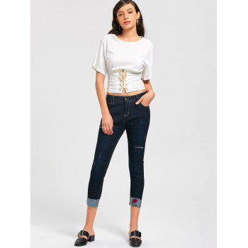 Ripped Capri Jeans with Rose Embroidery - MIDNIGHT L