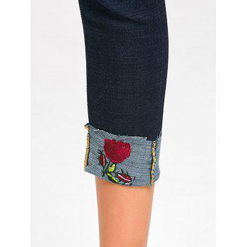 Ripped Capri Jeans with Rose Embroidery - MIDNIGHT MIDNIGHT