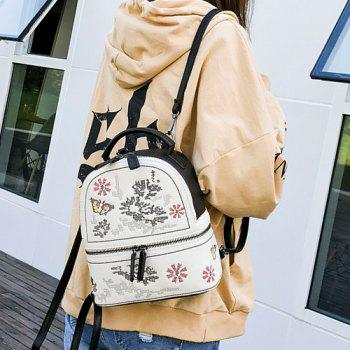 Flower Butterfly Patchwork Backpack -  BLACK