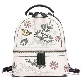 Flower Butterfly Patchwork Backpack - BLACK BLACK