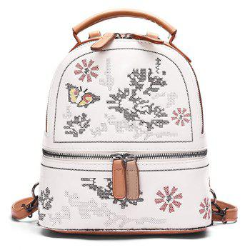 Flower Butterfly Patchwork Backpack - BROWN BROWN