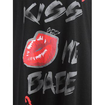 Plus Size Lace Sleeve Kiss Me Baby Lips T-shirt - BLACK 3XL