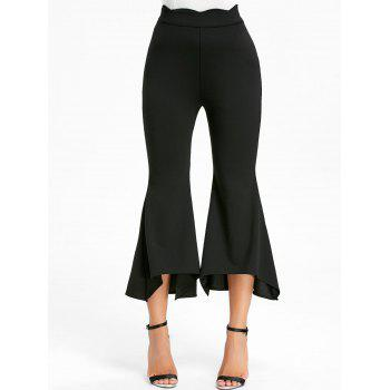 High Waist Ninth Bell Bottom Pants - BLACK L
