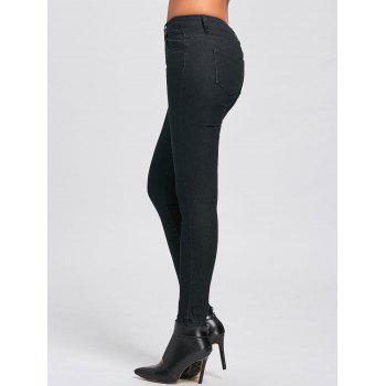 Skinny High Waisted Jeans - BLACK BLACK