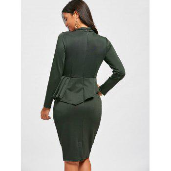 Bowknot Long Sleeve Peplum Bodycon Dress - GREEN XL