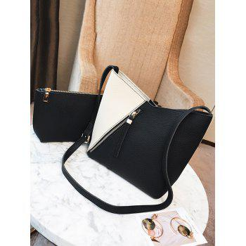 Color Block 2 Pieces Crossbody Bag Set - Noir