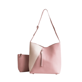 Color Block 2 Pieces Crossbody Bag Set - ROSE PÂLE