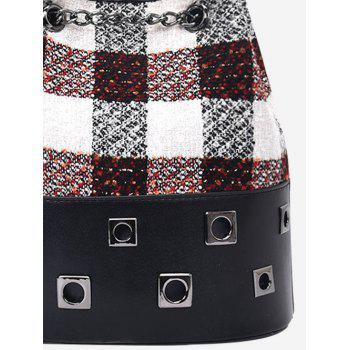 Plaid Chain Eyelets Crossbody Bag - Rouge vineux